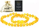 RAW Amber Necklace (Unisex) 13 inch. Unpolished Natural Amber from Baltic Region (Honey)