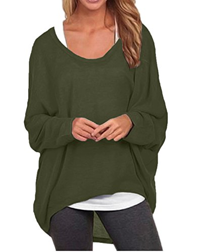 ZANZEA Women's Batwing Sleeve Off Shoulder Loose Oversized Baggy Tops Sweater Pullover Casual Blouse T-Shirt Army Green US 10/Tag Size L