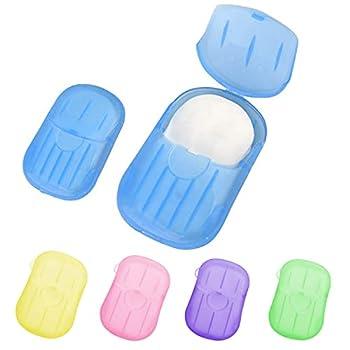 SLKIJDHFB Lot de 10 boîtes de savon en papier jetables et portables avec boîte de rangement pour laver les mains, les toilettes, le bain, le camping, la randonnée - Couleur aléatoire