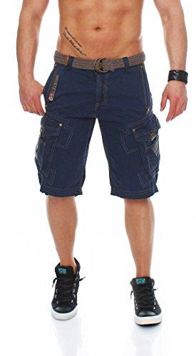 Geographical Norway - Pantalones cortos cargo cargo cargo para hombre, bermuda, pantalón corto con cinturón