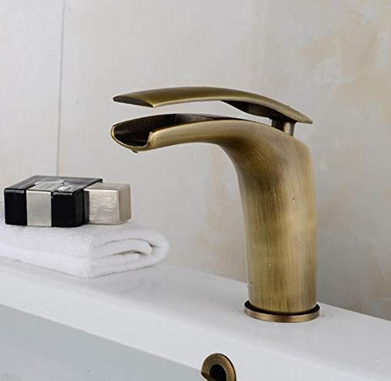 Wasserhahn Waschbecken New Arrival Antique Copper Basin Faucet Bathroom Waterfall Sink Taps Deck Mounted Cold&Hot Mixer Crane