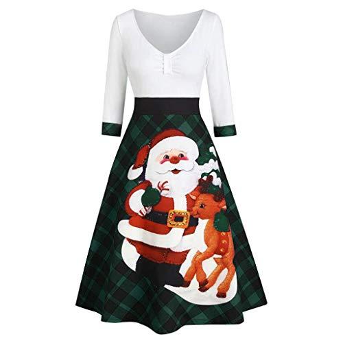 LIMITA Damenkleider Weihnachten gedruckt Langarm Kleider Elegante Gitterkleider Weihnachtsmann Bedruckte Kleider A-Linie Swing Kleider Weihnachten Abendkleid