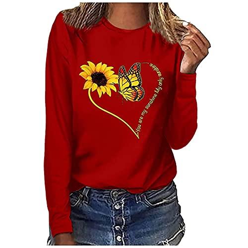 NAQUSHA Damen Sonnenblume Pullover Herbst Mode Lose Casual Langarm Rundhals Einfarbig Schmetterling Herz Bedruckt T-Shirt Tops Bluse Pullover Sweatshirts Oberteile(rot,Medium)