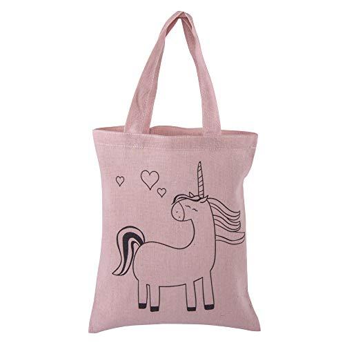 Rayher 53984258 Baumwoll-Tasche bedruckt, Motiv Einhorn, rosé, 20 x 25 cm, zum Bemalen, Stoffbeutel, Jutebeutel klein