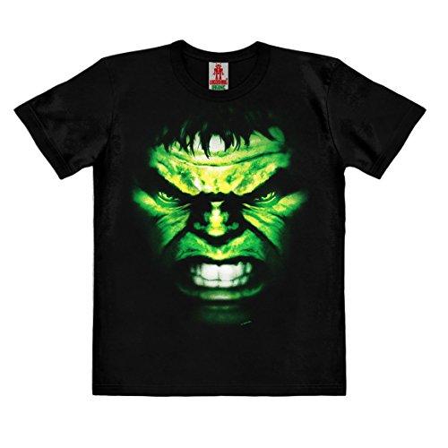 Logoshirt Marvel Comics - Hulk Faccia T-Shirt - Maglietta Organico per Bambini - Nero - Design Originale Concesso su Licenza, Taglia 92/98, 1½-3 Anni