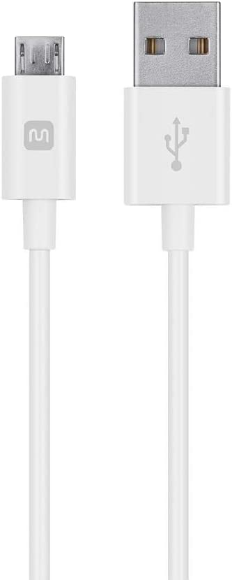 Monoprice USB-A to Micro B Cable - 3 Feet - White, Polycarbonate Connector Heads, 2.4A, 22/30AWG - Select Series