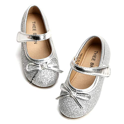 THEE BRON Girl's Toddler/Little Kid Ballet Mary Jane Flat Shoes (9M US Toddler, Lg03 Silver)