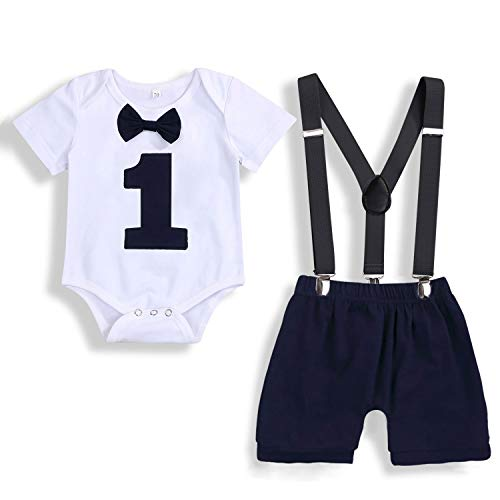 Baby Boys Cake Smash Outfit First Birthday Romper Bodysuit Adjustable Y Back Suspenders Clothes Set (Navy Blue, 12-18 Months)