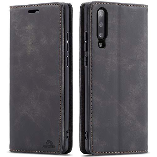 AFARER A50 hülle,Galaxy A50 hülle,Handyhülle mit Einfache Art Tasche Lederhülle Flip Case Brieftasche Handy hülle für Samsung Galaxy A50 - Schwarz