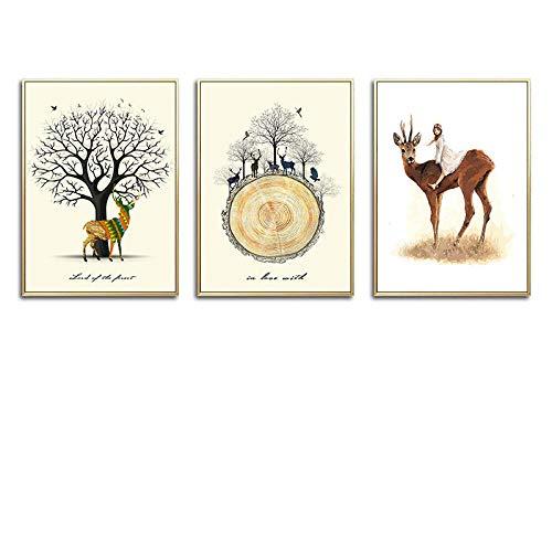 JRLDMD Angel Girl y Sika Deer Forest Animal Posters e Impresiones nórdicos Arte de la Pared Pintura de la Lona Cuadros de la Pared Decoración de la habitación de los niños 40x60cmx3 Sin Marco