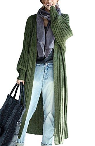 ELLAZHU Damen Freizeit Bequem V Ausschnitt Offen Langarm Strick Cardigan Sweater GA538 Grün