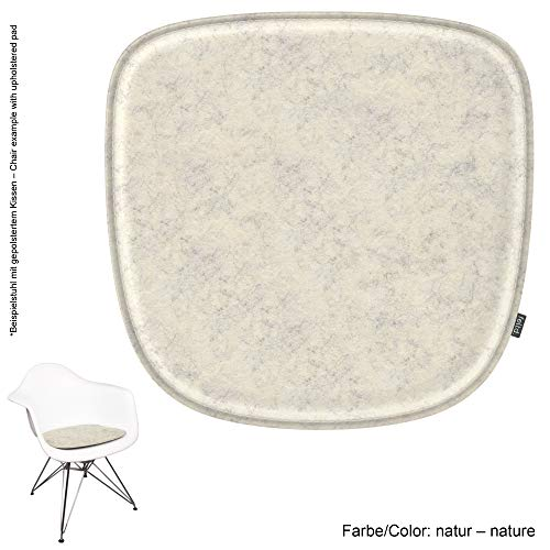 noe Eco - Cojín de Fieltro para sillón Vitra Eames - DAW, Dar, RAR, Dax, DAL, Rocker - 29 Colores - Acolchado Opcional y Antideslizante, Parte Superior – Natural, 40x39cm