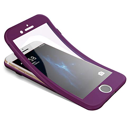 Surakey Cover Compatible con iPhone 6/6S Integrale, Silicone Morbido Protettiva Cover con Vetro Temperato 360 Gradi Protezione Totale Davanti e Dietro Ultra Sottile TPU Custodia Full Body Case,Viola