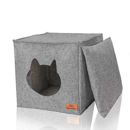 Amazy Bella & Balu Casa Felpa para Gato | Ideal para IKEA Kallax y Expedit - Guarida de Peluche Plegable para Gatos para Que duerman, se escondan, rasquen y mordisqueen (Gris Claro)