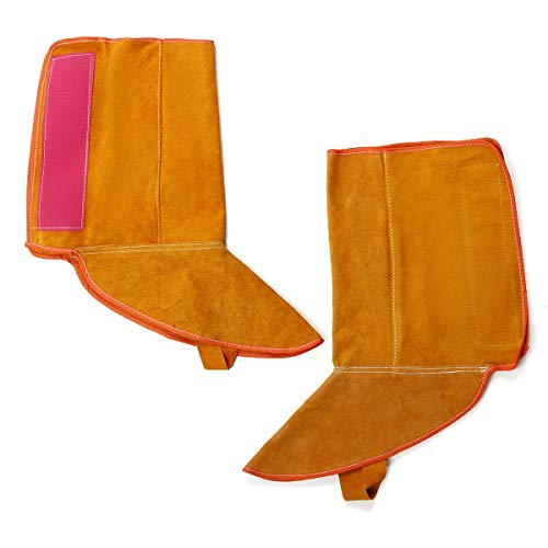 ExcLent 1Pair 8.3 Inch Cowhide Leather Welding Feet Protection Cover Sleeves Flame Resistant Safe Gloves