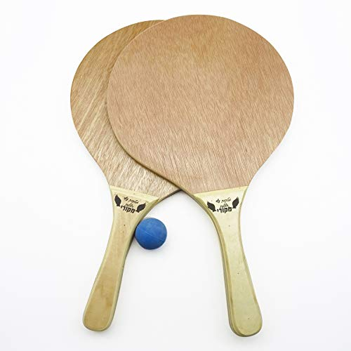Rayline Beach Paddle 2er Set Strand Tennis Schläger aus Holz (Farbe: Braun) mit Ball, Pools, Meer, Strand, Wiese, Park, Funsport l