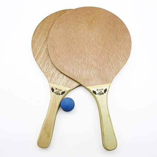 Rayline Beach Paddle 2er Set Strand Tennis Schläger aus Holz (Farbe: Braun) mit Ball, Pools, Meer, Strand, Wiese, Park, Funsport