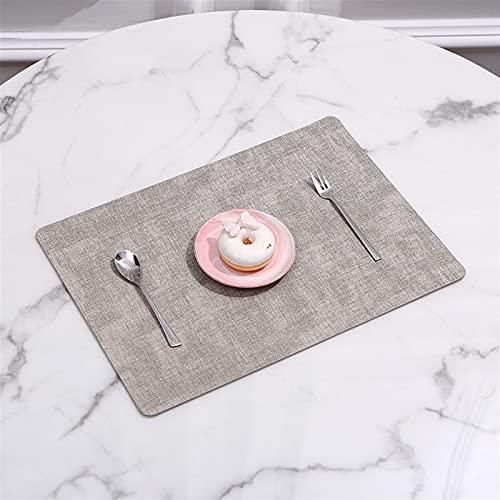 Rektangel plats mat porslin panna pu läder vattentät värme isolering doaster bord mat mjuka blå tvättbara skål kustar (Color : Gray)