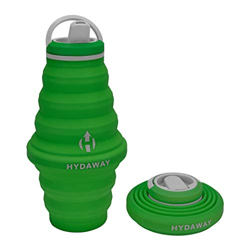 HYDAWAY Collapsible Water Bottle, 25oz Spout Lid | Ultra-Packable, Travel-Friendly, Food-Grade Silicone (Timber)