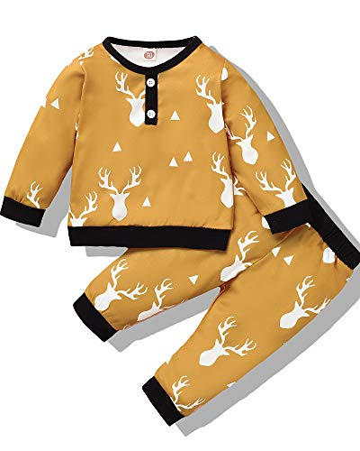 Christmas Baby Boy Clothes Infant Long Sleeve Sweatshirt Tops Pants Outfits Set Deer Print Toddler Fall Winter Yellow 6-12 Months 2PC