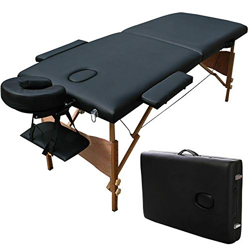 "84""L Goplus Portable Massage Table Facial SPA Bed Tattoo w/Free Carry Case Black"