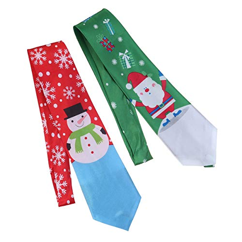 STOBOK 2 unids Navidad Corbatas Papá Noel Muñeco de Nieve Tie Decor Regalo para niños niño