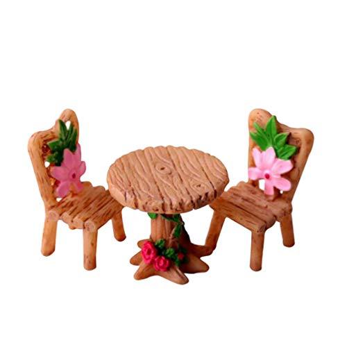 VOSAREA Miniatura de jardín de hadas, accesorios para muñecas, mini mesa y silla, decoración, 1 juego