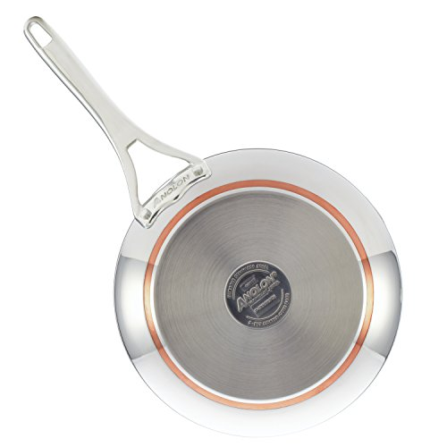 Anolon Nouvelle Stainless Stainless Steel Frying Pan / Fry Pan / Stainless Steel Skillet with Lid - 12 Inch, Silver