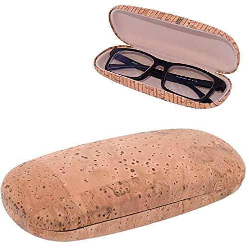 CORKCHO Estuche de Gafas,Funda De Gafas De Corcho Rígida Semi-Ovalada, Funda Dura para Guardar Las Gafas, 16.5x6.5x4cm, Ecológicas, Diseño Liso
