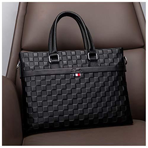 GHJL Mens Real Leather 14 Crossbody Laptop Bag Office Business Briefcase Handbag Slim Waterproof Messenger Bag Shoulder Bags for Men Black