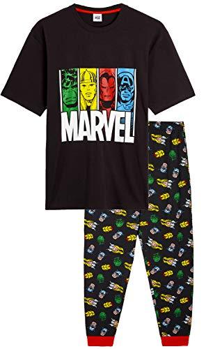 Marvel Pijama Hombre, Pijamas Hombre de Superheroes Avengers, con Capitan America Hulk Thor y Iron...