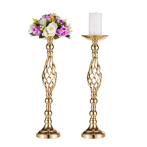 2 Pcs Versatile Metal Flower Arrangement & Candle Holder Stand Set for Wedding Party Dinner Centerpiece Event Restaurant Hotel Decoration (Gold, 2 x L)