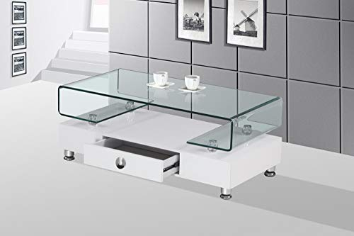 Best Quality Furniture Glass Top Coffee Table, White
