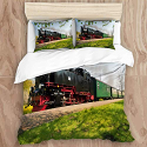 Bedding Duvet Cover Set with Zipper Closure - Historical German Steam Train Passes Through The Fields - Brushed Microfibre Duvet Cover with Pillowcases-Double(200 * 200cm)