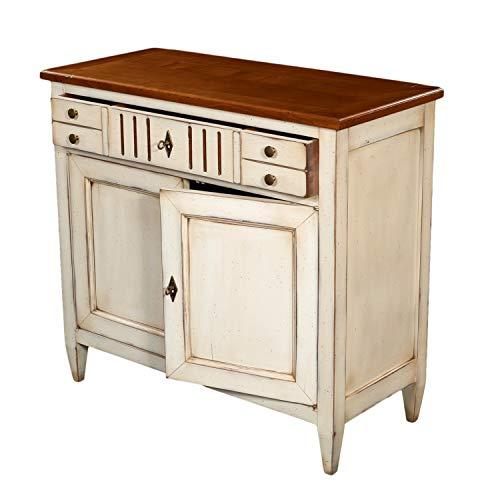 GONTIER - Aparador de madera maciza de cerezo D, color blanco crema – 100% fabricado en Francia