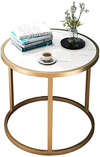 Round Modern Side Table, Living Room Sofa Table, Metal Frame Bedside Cabinet, a Small Bedroom Space Side Table,60 cm x 43 cm