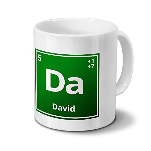 Tasse mit Namen David als Element-Symbol des Perioden Systems - grün - Namenstasse, Kaffeebecher, Mug, Becher, Kaffeetasse
