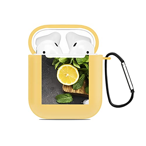 AirPods Case Cover Designed for AirPods 2&1,Ingredients for lemonade - lemon mint ice on a wooden cutting board,Full Protective Silicone Case with Keychain