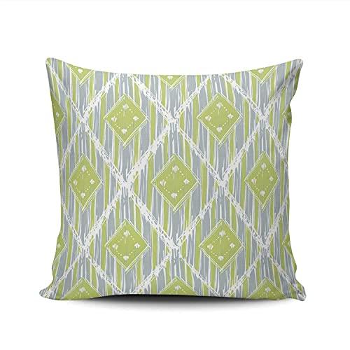 Hogar Decorativo Lindo Verde y Azul Verano étnico Ikat Funda de Almohada Doble Cara Impresa Funda de Almohada Funda de cojín Cuadrado 18x18 Pulgadas
