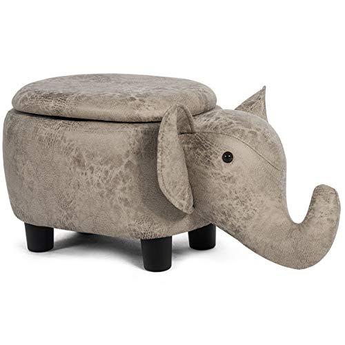 COSTWAY Tierhocker für Kinder, Kinderhocker gepolstert, Sitzhocker mit Stauraum, Polsterhocker mit Deckel, Fußbank Sitzbank Aufbewahrungsbox mit Füßen Tier-Design (Elefant-Design)