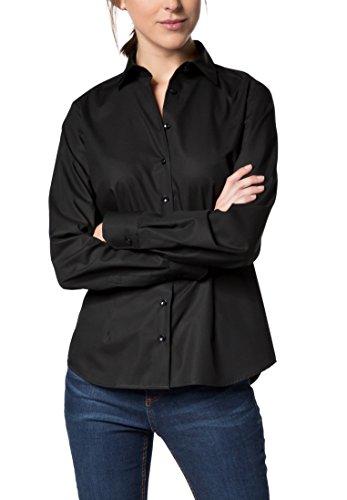 eterna Comfort Fit Bluse Langarm Hemdenkragen Swiss+Cotton schwarz Größe 50