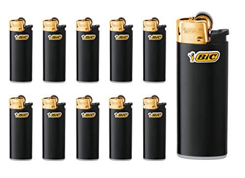 BIC Feuerzeug Reibrad Mini J25, schwarz/Gold (10 Stück)