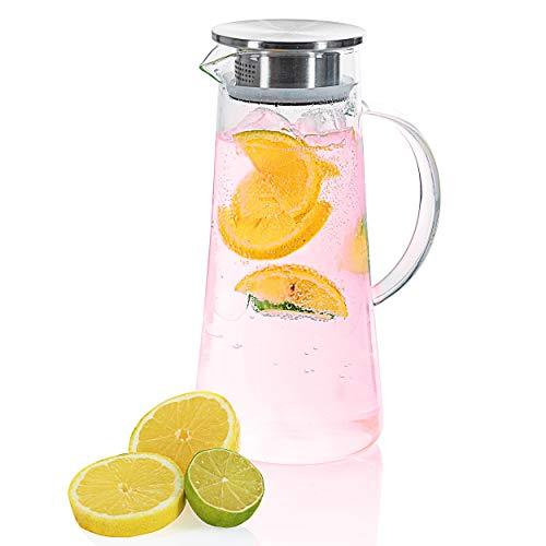Wasserkrug Wasserkanne Krug 1,5 Liter, Glaskrug mit Filter und Deckel aus Edelstahl Getränkekaraffe für heißes u. kaltes Wasser Eistee Kaffee Milch Saft Glaskaraffe mit Griff