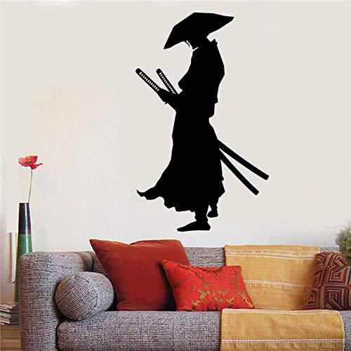 Vinyl Wandtattoo Krieger Samurai Katana Schwerter Aufkleber Home Decor Wandtattoos Japanische Comics Living Wandaufkleber 58X96cm