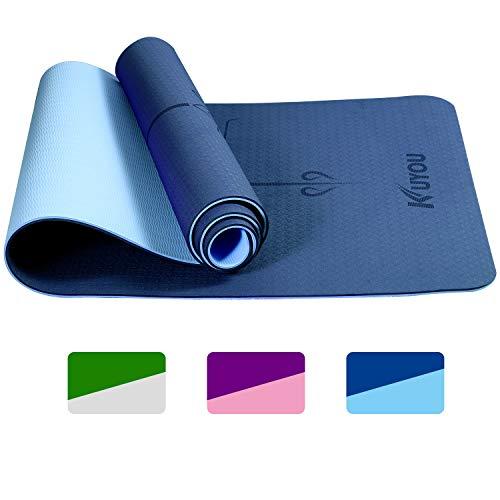 Yogamatte Gymnastikmatte rutschfest Phthalatfrei Fitnessmatte TPE Hypoallergen Übungsmatte mit Tragetasche, für Yoga Pilates Fitness Gymnastik Trainingsmatte, 183 cm x 61 cm x 6 mm (Blau- Hellblau)
