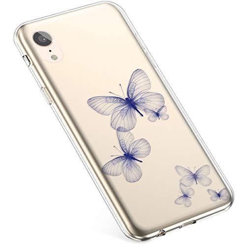 Coque pour iPhone XR Silicone Etui,Uposao iPhone XR Coque Transparent avec Motif Fleur Crystal Clear Case Premium Semi Hybrid Ultra Mince Slim Soft TP
