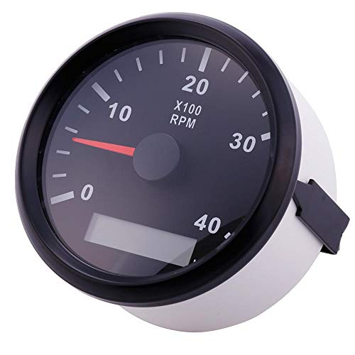 LHQ-HQ 85mm 4000RPM Tachometer mit LED Digital-Stundenmeter Mariner Außenborder Dieselmotor Motorgenerator Tacho Meter Gauge 12V / 24V