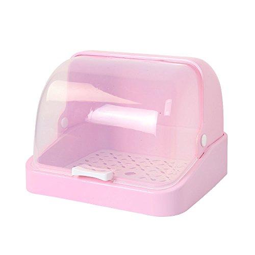 Stand MEIDUO Regal  PP-Material  Mit Deckel  Geschirr  Aufbewahrungskiste  Ablaufregal (3 Farben 2 Größen) sehr langlebig (Farbe : Pink, größe : B)