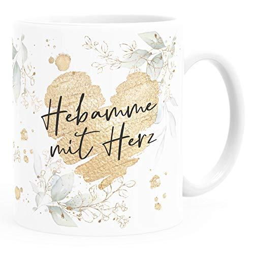 SpecialMe® Kaffee-Tasse [Wunschtext] mit Herz - soziale Berufe, Familie, Freunde kleines Dankeschön Geschenk Danke sagen Hebamme weiß Keramik-Tasse