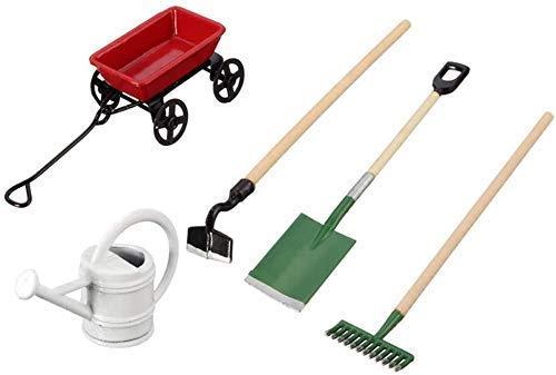 GYC Juego de Herramientas de jardín Mini Herramientas para Plantas de jardinería, Juego de Pala Implementos agrícolas Juego de hervidor de Agua para Autos 1:12 Herramienta para casa de muñecas Modelo